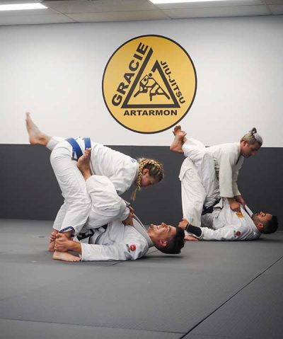 gracie artarmon brazilian jiu jitsu students drilling